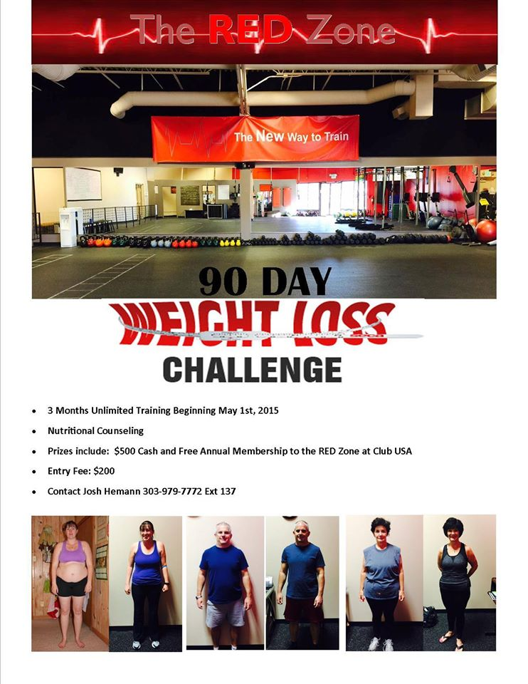 90 Day Weight Loss Challenge with the Red Zone at Club USA